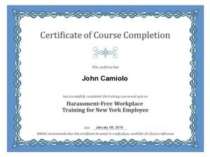 Certificate of completion sexual harassment New York